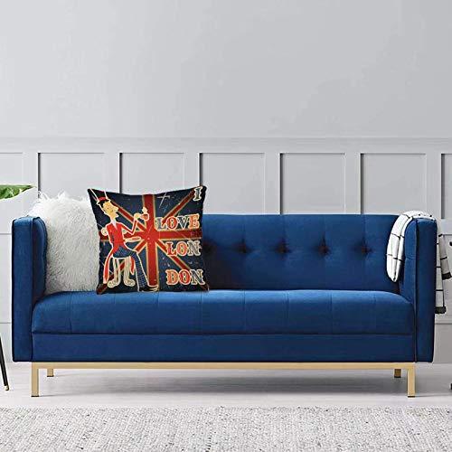 Dekorativer Kissenbezug fürBritisch, ich Liebe London zitiere englischen Mann, der Tee auf britischem Flaggen-Hintergrund-natioSchlafzimmerkissenbezug mit verstecktem Reißverschlusssofa 45 x 45 cm