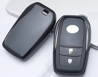 Eppar New Protective TPU Key Box Cover 1PC for Toyota Highlander Corolla Crown Carmy Reiz Mark-X RAV4 Prado Previa Land Cruiser (Black)