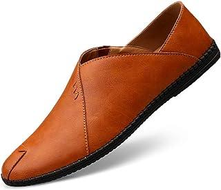 [ファイン?ショップ] メンズ ドライビングシューズ 大きいサイズ カジュアル フラット ラウンドトゥ ローカット 耐磨耗 快適 柔らかい 滑り止め 歩きやすい 履きやすい スリッポン 革靴 ビジネス ブラウン 24.0~28.0cm