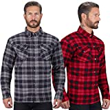 Viking Cycle Motorcycle Flannel Shirt for Biker Men - CE Armor Protection with Multiple Pockets for Storage (Black, Large)