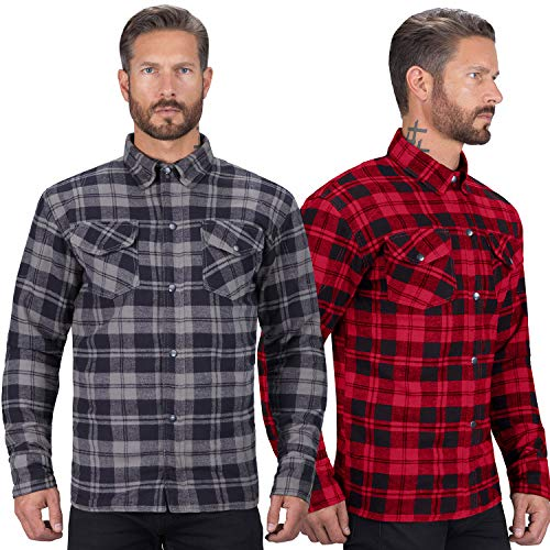 Viking Cycle Motorcycle Flannel Shirt for Biker Men - CE Armor Protection with Multiple Pockets for Storage (Black, Medium)