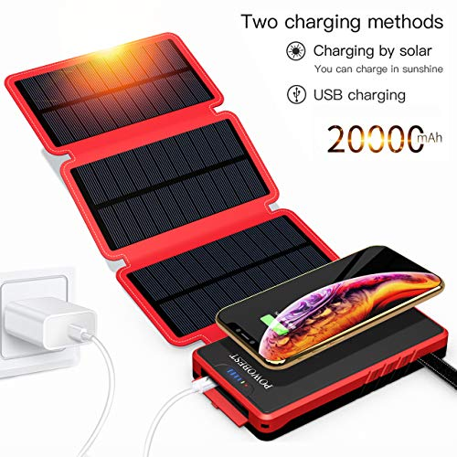 POWOBEST Solar Phone Charger, Outdoor Solar Cellphone Power Bank, 20000mAh Portable Waterproof Qi Wireless Solar Charger with Led Flashlight Dual USB Ports Compatible for Cell Phone, Tablets and More