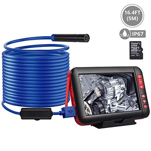 Proster Digitale Industrie Endoskop Kamera 4,3 Zoll LCD Farbbildschirm 1080P HD IP67 Wasserdichte Erkennungskamera mit 8 LED Licht 5 Meter Hardwire Schlange Kabel(Blau)