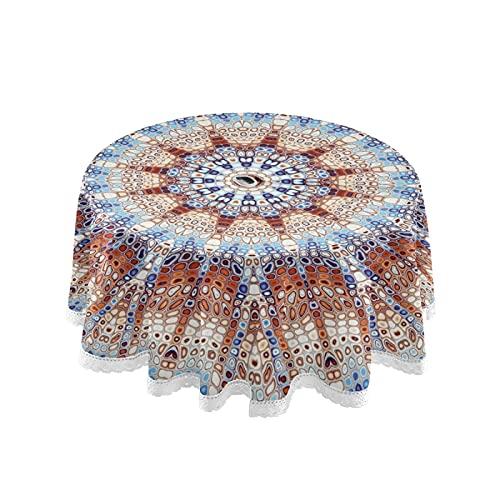 xigua Mantel de estilo mosaico de mandala de 60 pulgadas, redondo para interiores y exteriores, impermeable, con agujero para paraguas y cremallera para patio, jardín, fiesta y barbacoa