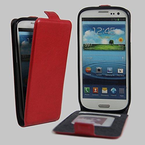 Qiaogle Telefono Case - Custodia in Pelle PU Basamento Custodia Protettiva Cover per Samsung Galaxy S3 / S3 Neo i9300 (4.8 Pollici) - FC14 / Rosso Stile di Affari di Modo