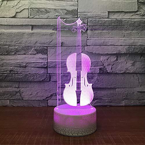 Qliyt Led Violine 3D Tisch Schreibtischlampe Usb 7 Farben Ändern Musikinstrumente Nachtlicht Kinder Schlaf Beleuchtung Geschenk Dekor - Fernbedienung Und Touch