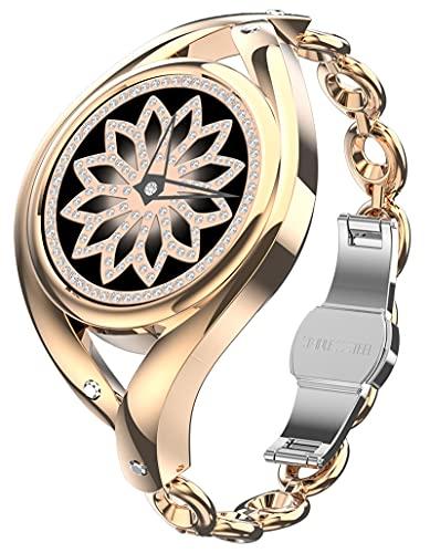 Smartwatch Damen Armkette Rosegold Silber Schmuck Armreif Edelstahl Fitness Armband Pulsmesser Uhr mit Blutdruck Schrittzähler Tracker für Frauen Metall Uhrenarmband Mode Elegant Diamant