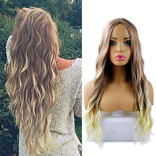 AIDUSA Long Wavy Wigs Water Weave Hair Wigs for Women Synthetic Hair 28' Wigs (Ombre Blonde)