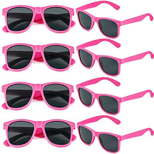 FSMILING 8 Paare Neon Party Sonnenbrille Set 80er Retro Klassisch Partybrillen Für Herren Damen (Hot Pink)