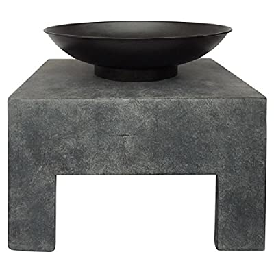 Charles Bentley Metal Fire Bowl With Square Stand Outdoor Heating Enamel Treated from Charles Bentley Garden