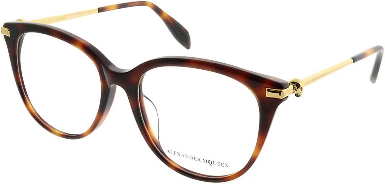 Alexander McQueen Iconic AM 0154OA 002 Havana Plastic Square Eyeglasses 52mm