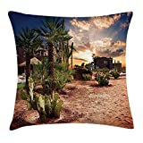 FAFANI Desert Throw Pillow Cushion Cover, Majestic Sky View Palm Trees and Cactus in Oasis Morocco Tropic Nature, Decorative Square Accent Pillow Case, 18 X 18 Inches, Blue Green Light Brown