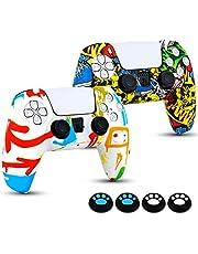 Etui na kontroler PS5, 2 sztuki, miękkie silikonowe etui z 4 uchwytami na kciuki, etui ochronne do kontrolera Sony PlayStation 5