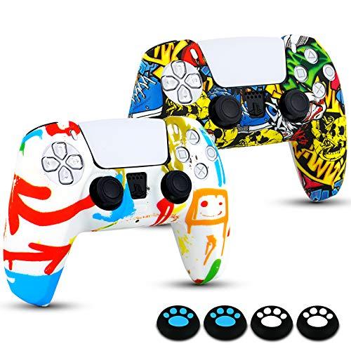 Funda para Mando PS5 DualSense, 2 Piezas Funda de Silicona Suave con 4 Piezas Agarre de Pulgar Basculante para Mando PlayStation 5, Antideslizante, A Prueba de Polvo, Accesorios PS5