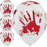 Unbekannt 6 große Luftballons * BLUTIGE Hand * für Halloween und Mottoparty // 80cm Umfang und geeignet für Helium // Party Deko Mottoparty Balloons Horror blutige Hände