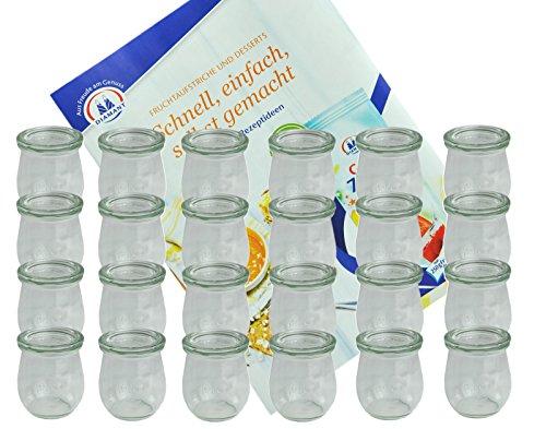 MamboCat 24er Set Weckgläser 220 ml Tulpenform mit Deckel I Original Weck Tulpenglas Dessertglas I Einweckgläser mit Deckel für Obst Gemüse UVM I inkl. Diamant-Zucker Gelierzauber Rezeptheft