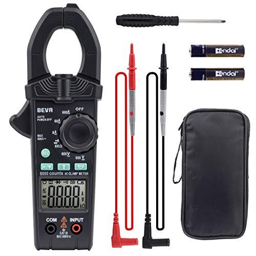 BEVA Pinza Amperometrica Professionale,Mutimetro Digitale Senza Contatto, 6000 True RMS Conteggi, Tester di Tensione AC/DC, Corrente AC, Diodo, Voltaggio, Resistenza