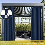 Wasserdicht Terrasse Vorhänge Kriegemarine 127B x 274H cm, Outdoor Vorhang mit Klettverschluss Tab...