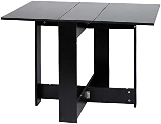 YIFAA Table de Cuisine Pliante Panneaux de Particules Melamines Salon Table 103x73.4x76cm (Noir)