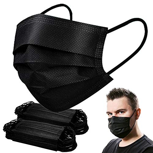 Black Mask,Disposable Face Mask of 100 pack Face Masks for Women Men