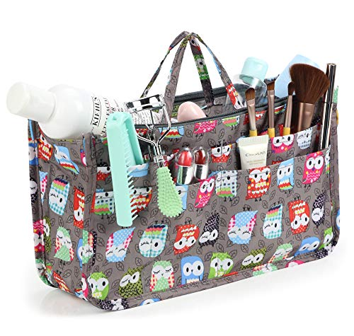 Cosmetic Bag for Women Cute Printing 14 Pockets Expandable Makeup Organizer Purse with Handles (Owl)