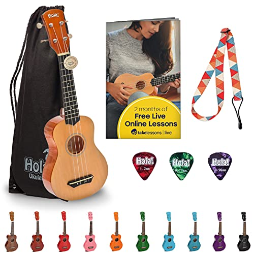 Hola! Music Ukuleles for Adults, Kids & Beginners - 21' Maple Soprano Ukulele w/Bag & More - Natural