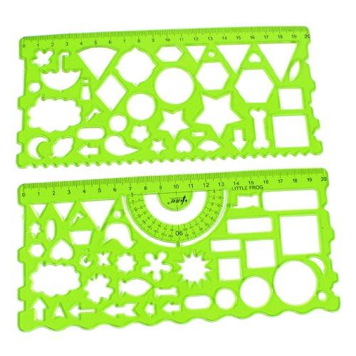 sourcing map sourcing map 2 Stück Zeichnung Herrscher Schablonen Kreis Dreieck Schablone Lineal für Rechteck zeichnen transparent Grün