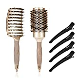 Boar Bristle Hair Brush Set - Round Brush & Curved Vented Detangling Hair Brush, Thermal Ceramic & Ionic Round Barrel Brush for Blow Drying, Styling Hair Brush for Wet Dry Curly Thick Straight Hair