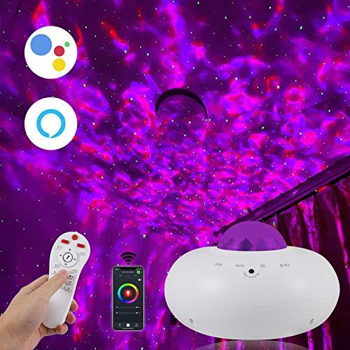 Musikalischer Sternenhimmelprojektor mit Wasserwellen,APP-Sprachsteuerung, kompatibel mit Alexa & Google Home,rotierender farbwechselnder Sternnachtlichtanzug für Spielzimmer/Heimkino/Babyzimmer