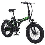 Shengmilo 500W Bicicleta eléctrica Plegable Montaña Nieve E-Bike Ciclismo de Carretera, Neumático Gordo de 4 Pulgadas, Shimano 7 Velocidad Variable (Negro)