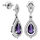 Dazzlingrock Collection 6X4 MM Each Pear Amethyst & Round White Diamond Ladies Teardrop Dangling Drop Earrings, Sterling Silver