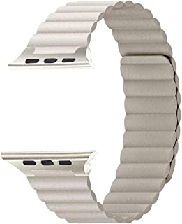 Robotekno Apple Watch Deri Kordon 38mm 40mm 42mm 44mm, Manyetik Deri Kayış 1 | 2 | 3 | 4 | 5 (42mm/44mm, Bej)