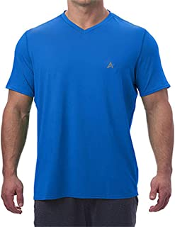 Arctic Cool Men's V-Neck Instant Cooling Moisture Wicking Performance UPF 50+ Short Sleeve Workout Shirt