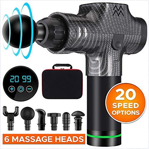 AHELT-J Muskel Massagegerät Muscle Massager Gun Tiefengewebe Muskelmassager Vibrating Schmerzlinderung Körper Entspannen Massage Elektrisches Massagepistole. (13 Arten),Carbon Fiber