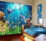 Hailongdia Sombreado 3D Estéreo Ocean Dolphin Sala De Estar Cortina Ventana Dormitorio Hotel Pared Moderno 290 (H) X140 (W) Cm X2