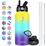 Elvira 32oz Vacuum Insulated Stainless Steel Water Bottle with Straw & Spout Lids, Double Wall Sweat-proof BPA Free to Keep Beverages Cold For 24 Hrs or Hot For 12 Hrs-Yellow/Green/Purple