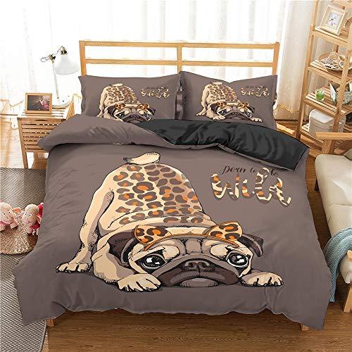 Funda nórdica de tela estampada, juegos de cama de perro Pug de dibujos animados, juego de cama para perro Pug, juego de funda nórdica, juego de edredón, ropa de cama, ropa de cama, juego de funda