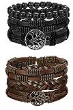 BESTEEL 6PCS Arbre de Vie Bracelet Cuir pour Hommes Femmes Tressé Bracelet Wrap...
