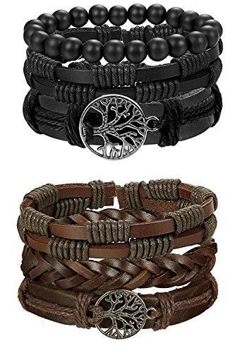 BE STEEL 6 STÜCKE Leder Armband Baum des Lebens für Herren Damen Geflochtenes Armbänder Wrap Holzperlen Charme Handgemacht, Einstellbar