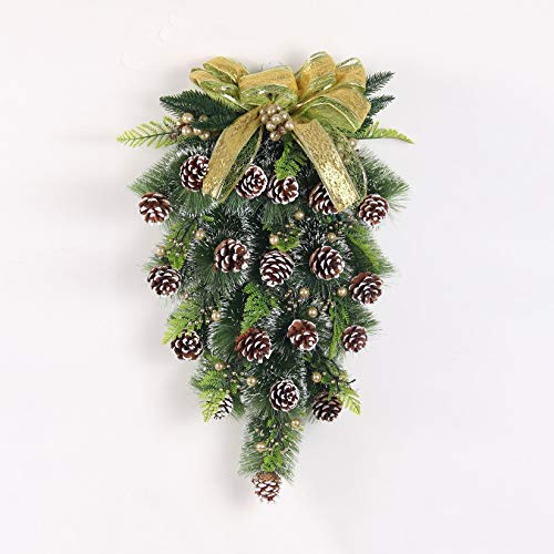 JJZXD Christmas Garland Rattan Fruit Wall Hanging/Upside Down Tree Decor/Shopping Mall and Hotel Door and Window Ornaments