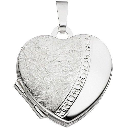 Medaglione ciondolo in argento 925 A forma di cuore apribile per donna