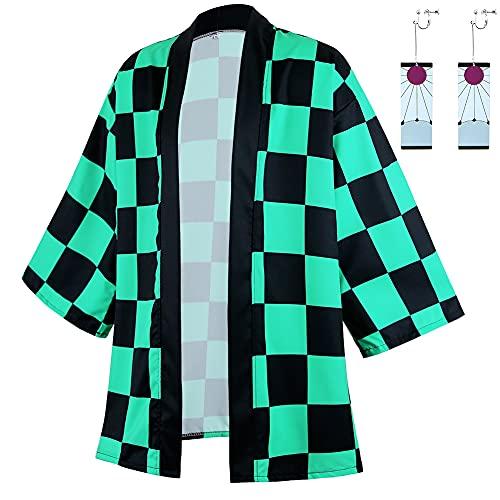 Tinyones Anime Kamado Tanjirou Robes Cosplay Costume Cardigan Jacket Earrings Set (XL, Green)
