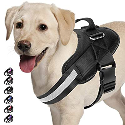 Noyal Adjustable Dog Harness, No Pull Dog Harness Outdoor Vest with Easy Control Handle, Hook and Front Reflective Straps - No More Pulling, Tugging or Choking for Puppies