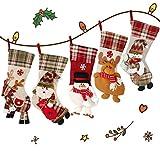 5 Piezas 45CM Medias de Navidad de Lino, Bolsillo de Regalo, Dulces de Navidad, Figura de Alce, Papá Noel, Muñeco de Nieve