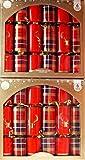 Lot de 12 crackers de Noël traditionnels en tartan rouge doré