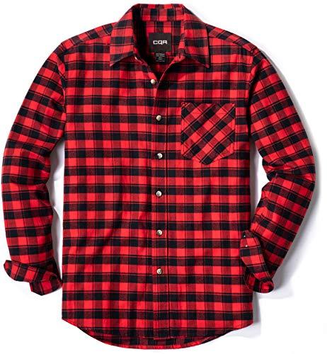 CQR Herren Langarm Flanell Kariertes bequemes Button-up Baumwollhemd, Hof001 1pack - Red Buffalo, XL