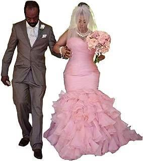 Plus Size Wedding Dress Mermaid 2019 Organza Cascading Ruffle Tiers Bridal Dresses Sweetheart Gowns
