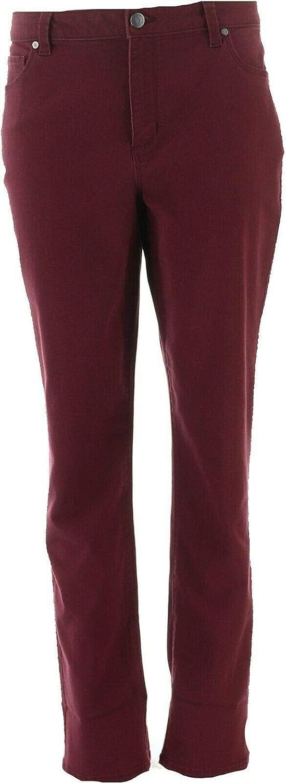 Dennis Basso Stretch Twill 5-Pocket Straight-Leg Jeans Deep Wine 18W New A343917
