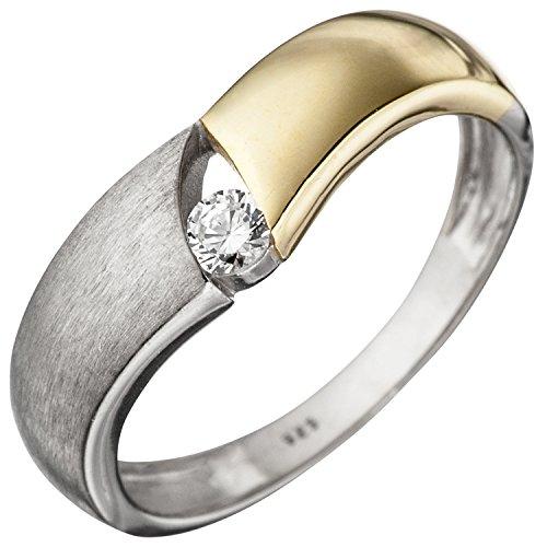 JOBO Damen Ring 925 Sterling Silber bicolor vergoldet matt 1 Zirkonia Silberring Größe 58