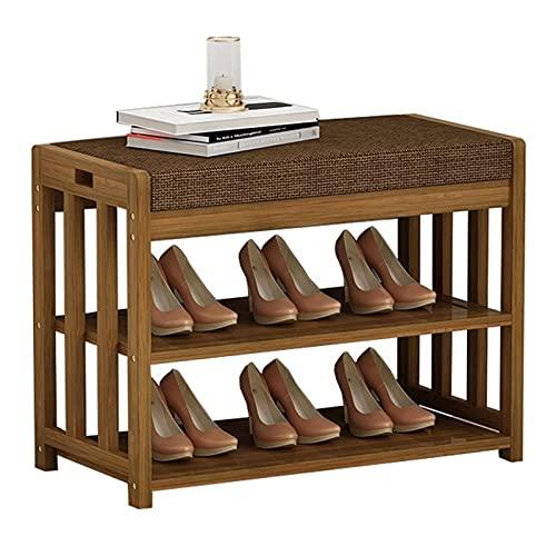 Zapatero moderno de madera para zapatos, organizador de zapatos con cojín para entrada, pasillo, sala de estar, muebles (tamaño: 60 cm)